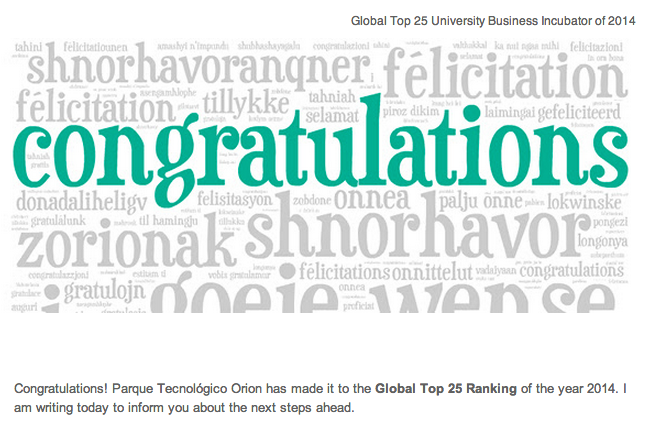 Orion Startups in the Global Top 25 University Business Incubator of 2014!